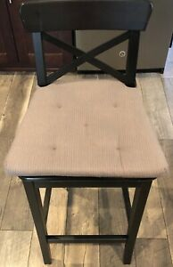 Ikea Ingolf Brown/Black Bar Stool with Backrest & Gray Justina Chair Cushion