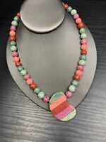 Vintage Pastel beaded Stone necklace With Bean Matching Stone Pendant  18 ""