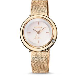 Women's Citizen Eco-Drive Arcly Diamond Bezel Rose Gold Tone Watch EM0643-84X