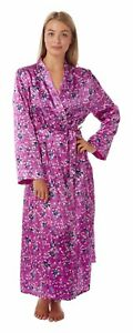 LADIES SATIN LACE TRIM LONG DRESSING GOWN SIZES 14 TO 32
