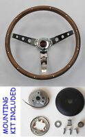 "Chevy Bel Air 150 210 GRANT Wood Walnut Steering Wheel 15"" Red/Black center"
