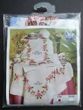 Vervaco PINK Flowers Tablecloth STAMPED Cross Stitch KIT~32 X 32~100% Cotton