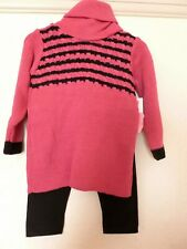 Baby Girl Cerise Pink and Black Knitted Dress and Leggings age 12 months nwt