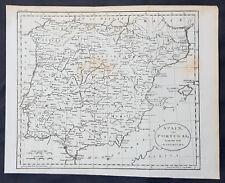 1770 Thomas Kitchin Original Antique Map of Spain, Portugal & Balearic Islands