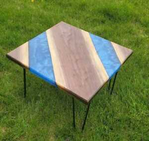 "24"" Epoxy Resin Corner / Side Table Top Home Decor"