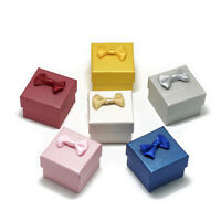 "24 Cardboard Jewelry Boxes for Rings Textured Bowknot Mini Cube Gift Cases 2""x2"""