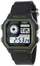 Casio AE-1200WHB-1BV World Time Digital Watch Cloth Band 5 Alarms New