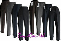 New Women's Ladies Half Elastic Straight Leg Trousers Pants UK Size 12 to 24