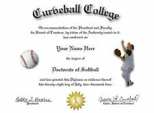 Doctorate Of Softball Novelty Diploma! Great Gift!