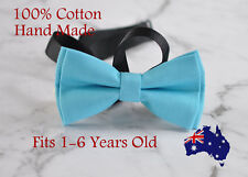 Boy Kids Baby 100% Cotton Aqua Blue Bow Tie Bowtie Party Wedding 1-6 Years Old