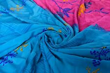 Vintage Printed Sari Pink Pure Silk Floral Print 5Yrd Saree Design Craft Fabric