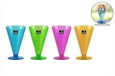 Set Of 4 Ice Cream Sundae Dish Cone Shaped Dessert Bowl Gelato Scoop Plastic