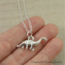 Silver Brontosaurus Necklace - Prehistoric Dinosaur Pendant Jewerly New