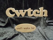 Cwtch Freestanding MDF sign Wooden Welsh word words Wales letters