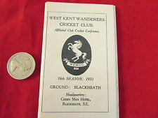 WEST KENT  Wanderers  CRICKET Club 1931  Fixture Card