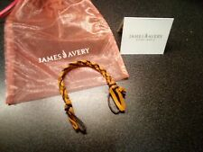 JAMES AVERY BRAIDED BRACELET LEATHER BROWN REPLACEMENT RETIRED 8 IN
