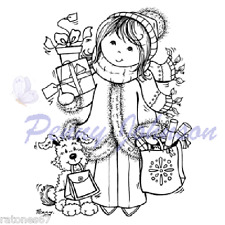 Stampavie CHIC SHOPPING Penny Johnson clear stamp Girl Dog Christmas Present New