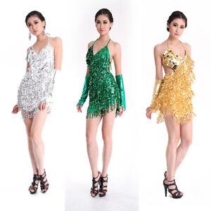 Women Party Sequin Tassel Dance Mini Dress Dancewear Latin Rumba Skirt Cocktail