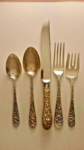 STIEFF ROSE STERLING SILVER 4 SETTINGS 5 PIECES PER SETTING WITH OVAL SOUPS