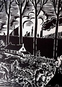 FRANS MASEREEL (1889-1972) WOODCUT - WORKING ON THE FIELD - LISTED BELGIAN
