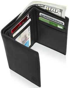 Real Leather Slim Wallets For Men Trifold Mens Wallet W/ ID Window RFID Blocking