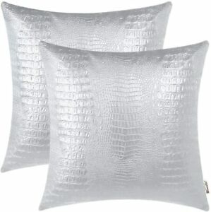 """BRAWARM Pack of 2 Silver Faux Crocodile Leather Throw Pillow Covers 18"""" X 18"""""""