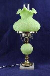 """Fenton Lime Green Sherbet Poppy Satin Student Lamp 20 1/4"""" Tall"""