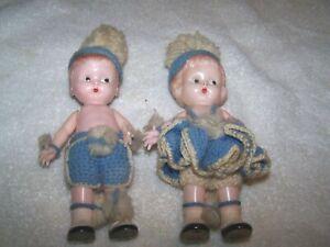 Vintage Knickerbocker Rattle Set of 2 Boy & Girl  Doll Plastic w.Blue Clothes