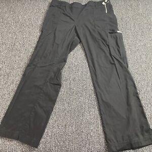 Kathy Peterson koi Womens Size XL Scrub Pants Side Zip Black Utility