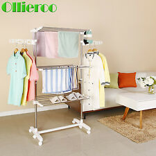 Foldable Clothes Drying Rack Heavy Duty Laundry Dryer Storage Wheel Hanger Stand