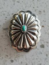 Native American Sterling Silver And Turquoise Bolo Tie (Navajo)