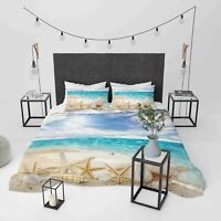 3D Beach Starfish Shell Quilt Cover Sets Pillowcases Duvet Comforter Cover 1