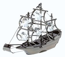 BLACK METALLIC MAYFLOWER FIGURINE/ORNAMENT STUDDED SWAROVSKI CRYSTAL ELEMENTS