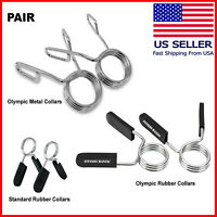 "Barbell Bar Clamps Clips Dumbbell Bar Collars Weight Spring Locks 1"" & 2"" PAIR"