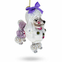 Bejeweled Poodle Glass Christmas Ornament