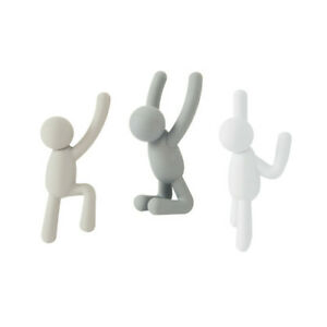Contemporary Set of 3 Buddy Climbing People Molded In Grey + White Wall Hooks