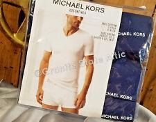 Michael Kors 3 Pk V- Neck T-Shirts XL NAVY BLUE 100% Cotton ~ FREE SHIPPING!