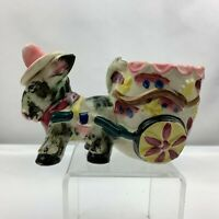 Vintage Donkey Pulling Cart Planter Pink Hat  - Japan