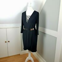 River Island Black Lace-up V-Neck Dress 3/4 Sleeves Belt Bodycon Size 10 BNWT