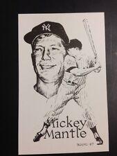 Mickey Mantle Etching Black and White Postcard 3-Starr Press Iowa