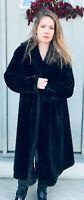 Vintage Martin's Borgana Faux Fur Coat Black Womans sz 16/18 evening heavy warm