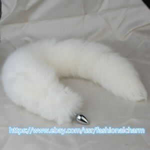 """50cm/20"""" Real White Fox Fur Tail Plug Funny Adult Sweet Games Cosplay Toys Gift"""