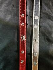 """New listing New 1 Red And 1 Silver Metallic Lazybonezz Skull Dog Collar Large 17.5""""-21.5"""""""