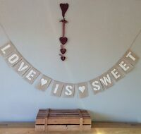 Candy Cart Love Is Sweet Hessian Bunting Banner Wedding Vintage Burlap