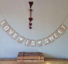 ❤️ Candy Cart Love Is Sweet Hessian Bunting Banner Wedding Vintage Burlap ❤️