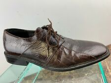 Georgio Brutini Brown Snakeskin Leather Lace Up Bicycle Toe Dress Shoes Men 8.5M