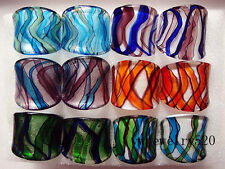 Summer Style Stripe Murano Glass Lampwork Rings 17-19MM 6pcs Wholesale Lot FREE
