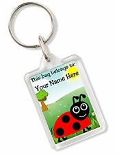 Personalised Kids Childs School Bag Tag Animal Keyring With Ladybird AK90