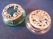 2 Vintg Pewter Lid Glass Jar Dishes 1988 Seagull Canada & Rawcliff 1998 Potpouri