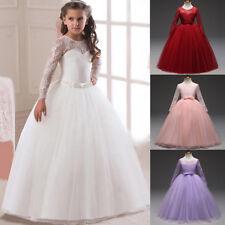 Langarm Spitze Mädchen Kinder Blumenmaedchen Kommunionkleid Hochzeit Abendkleid